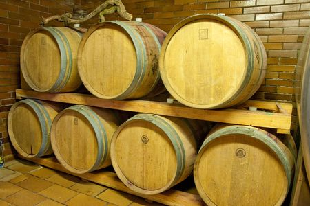 wine barrels in old wine cave Stock Photo - 4654927