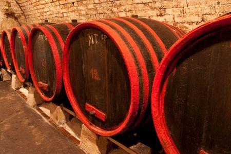 wine barrels in old wine cave Stock Photo - 4654931