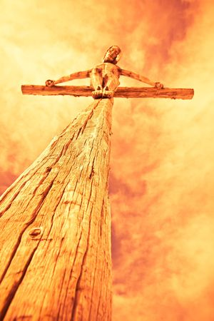 antichrist: holy cross with crucified Jesus Christ