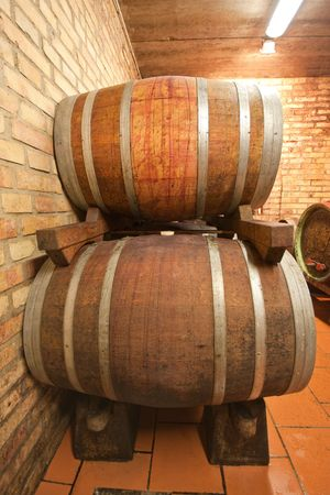 mustiness: wine barrels in old wine cave