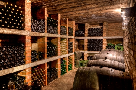 stacked up wine bottles in the cellar Stock Photo - 5183695