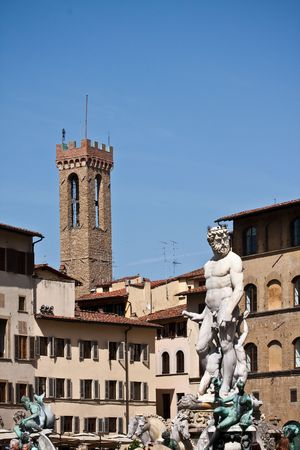 fontana: Fontana di Nettuno at Florence Italy