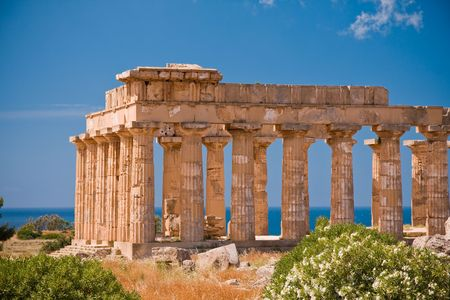 templo griego: Ruinas del templo griego, Selinunte, Sicilia, Italia