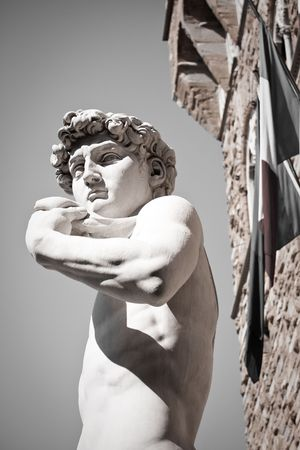david and goliath: Davids Statue, Florence, Italy Stock Photo
