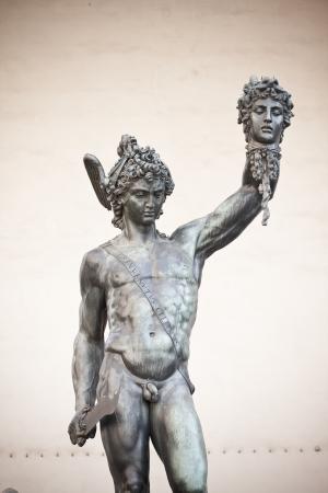 medusa: bronze statue of Perseus holding the head of Medusa