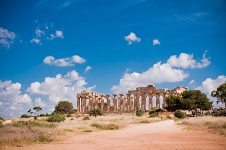 tempio greco: Rovine del tempio greco, Selinunte, Sicilia  Archivio Fotografico