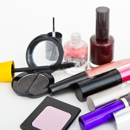 makeup collection on white background photo