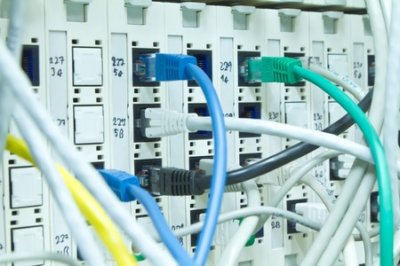 ethernet cables maze connected to switch Stock Photo - 8203987