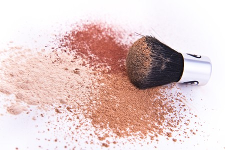 makeup brush and powder isolated Stock Photo - 8282379