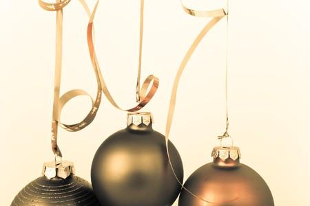 hanging Christmas decoration on white background photo