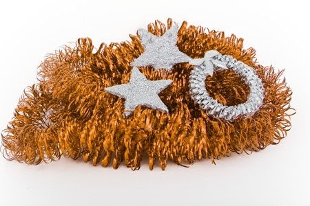 christmas silver decoration with tinsel photo