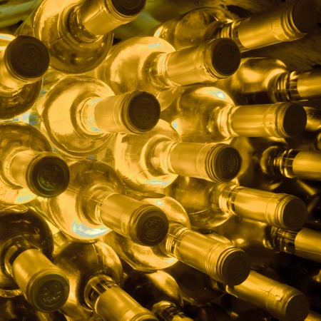 stacked up: stacked up wine bottles in the wine cave