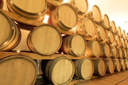 wine barrels in old wine cave Stock Photo - 8552507