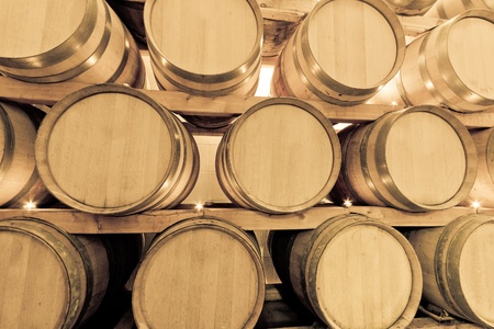 wine barrels in old wine cave Stock Photo - 8552528