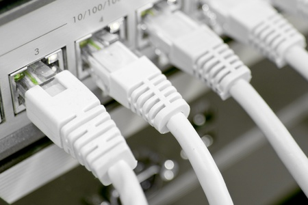 network cables RJ45 connected to a switch Stock Photo - 8552295