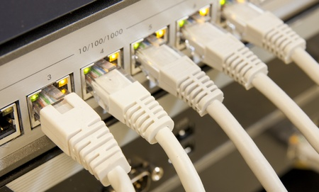 network cables RJ45 connected to a switch Stock Photo - 8552434