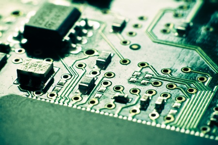 close up of electronic circuit board photo