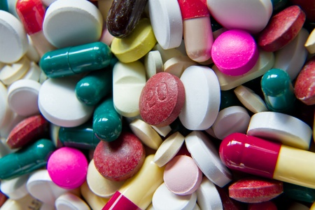 background made of colorful pills photo