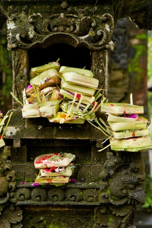 spliced: offerings to gods in hindu temple, Bali, Indonesia Stock Photo