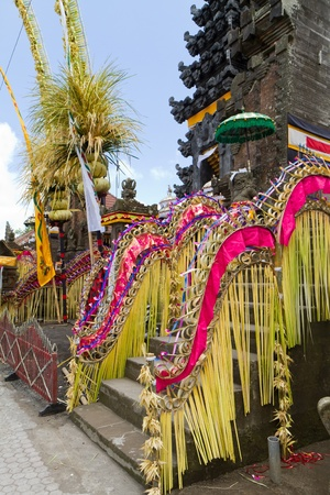 festive decoration of hindu temple Pura Ulun Danu Batur, Bali, Indonesia Stock Photo - 8580212