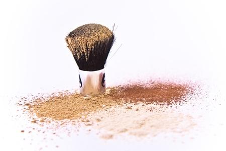 makeup brush and powder isolated Stock Photo - 8606918