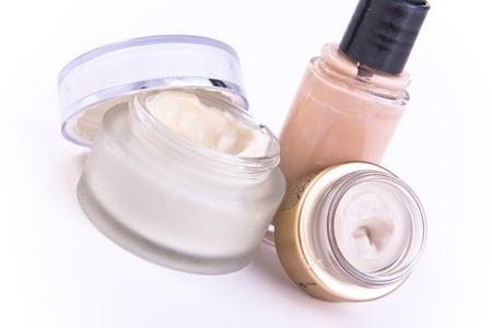 nourishing: conjunto de maquillaje y cremas nutritivas Foto de archivo