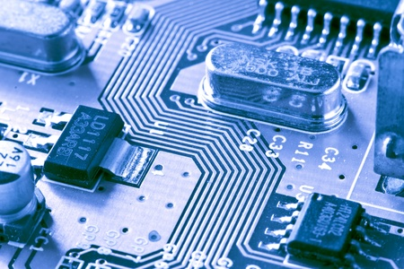 circuit board with connectors as a background photo