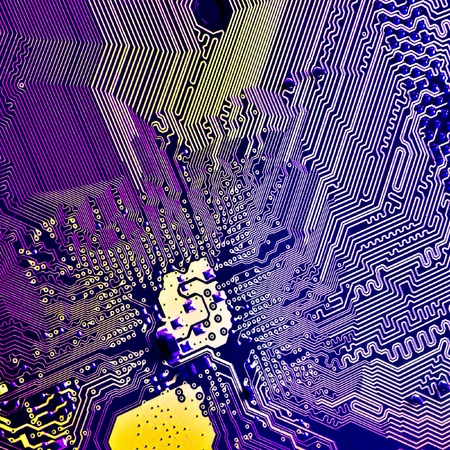 close up of abstract electronic circuit board photo