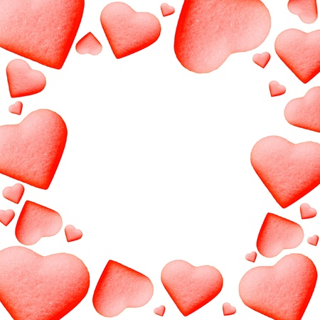 valentine          s day candy: valentine card with red hearts Stock Photo