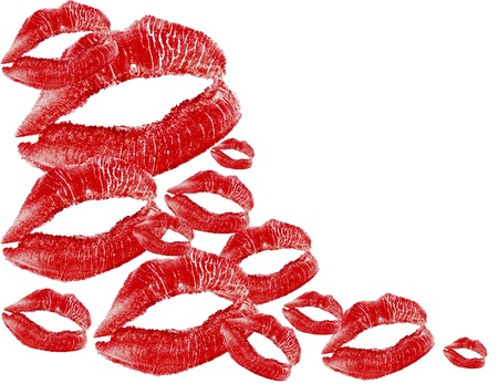red lips print on white background Stock Photo - 8742500