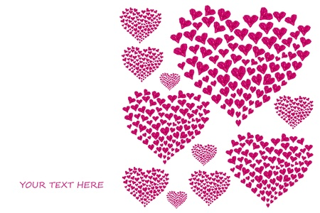 valentine card with heart shaped rose petals photo