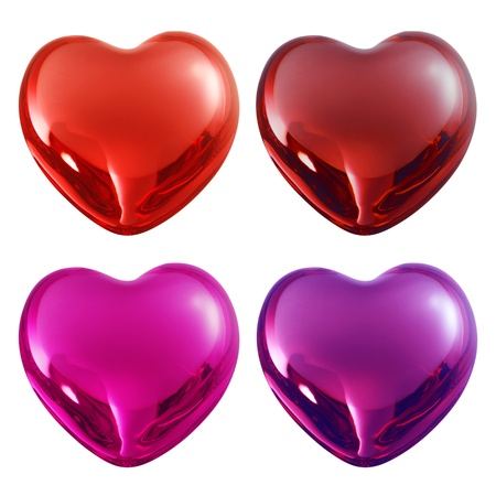pink hearts: set valentine glass hearts with reflection