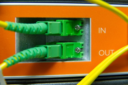 cables maze connected to switch Stock Photo