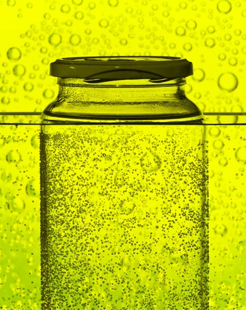 glass bottle in a water tank as science abstract photo