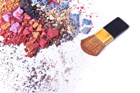 eyeshadow mix with brush on white background Stock Photo - 8981242