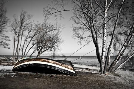 ashore: old fishing boat ashore