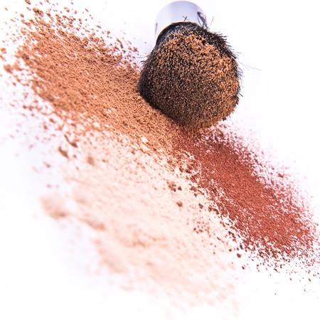 makeup brush and powder isolated Stock Photo - 9062609
