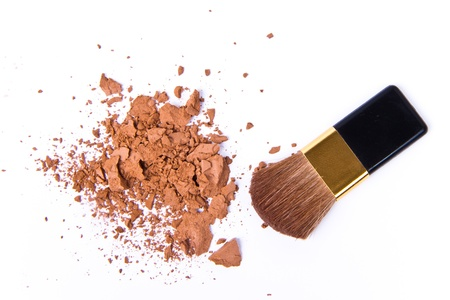 crushed eyeshadow isolated on white background photo
