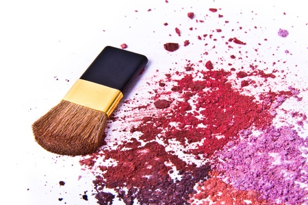 eyeshadow palette with brush on white background photo