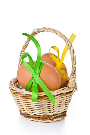 basket with easter eggs isolated Stock Photo - 9170182