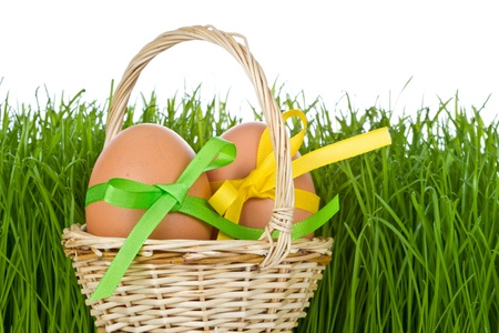 basket with easter eggs in the grass Stock Photo - 9170247