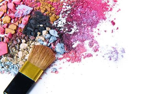 eyeshadow mix with brush on white background Stock Photo - 9195425