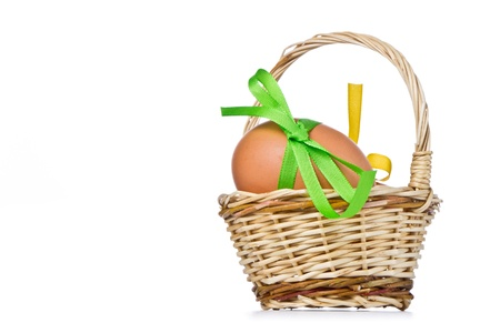 basket with easter eggs isolated Stock Photo - 9196902