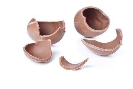 chocolate eggs: cracked chocolate egg isolated on white