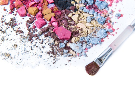 eyeshadow mix with brush on white background photo