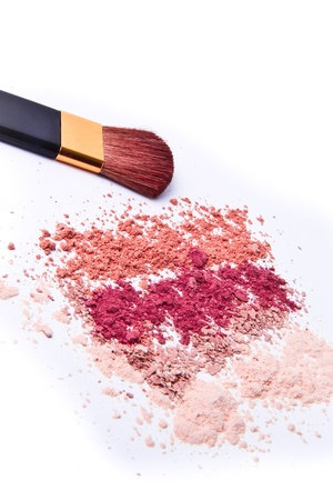 makeup powder with brush white background photo