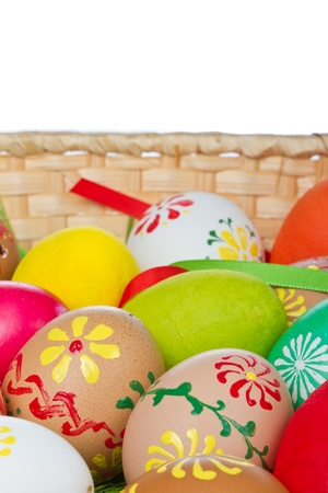 easter eggs collection in a basket photo