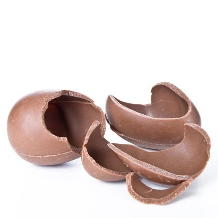 cracked chocolate egg isolated on white photo