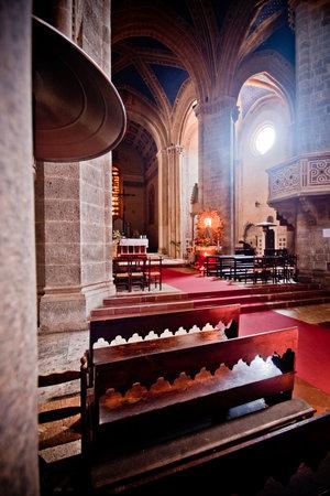 nave: interior architecture design of church, Italy