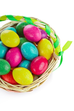 closeup of colorful easter eggs in basket photo